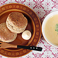 豆乳カボチャスープ&おからと黒豆きのこのスコーン